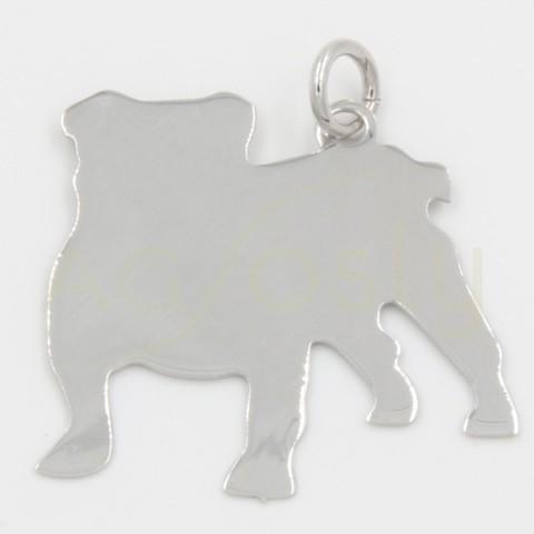 Colgante de plata, silueta de perro, raza Bulldog Inglés. Tamaño grande