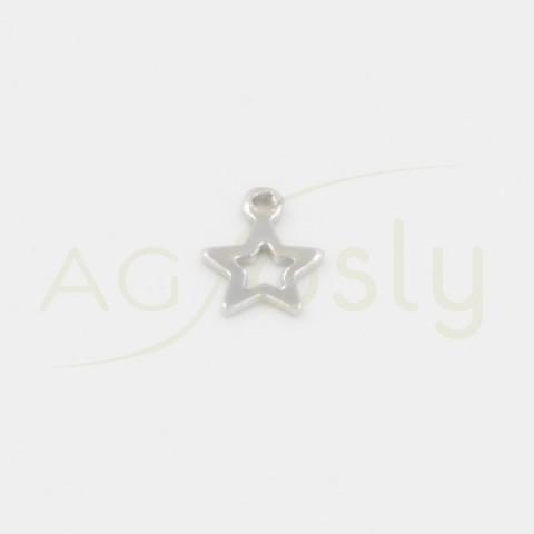 Colgante de plata, silueta estrella