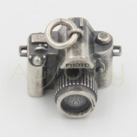 Colgante de plata, con forma de cámara de fotos