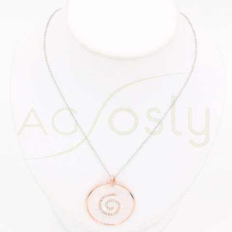 Collar plata rosa círculo, motivo espiral