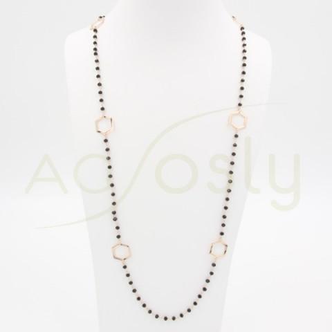 Collar de plata rosa con piedras negras y exágonos