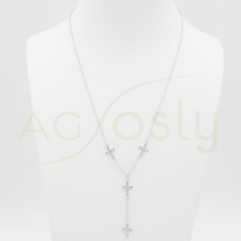 Gargantilla de plata con cruces en plata y zirconitas