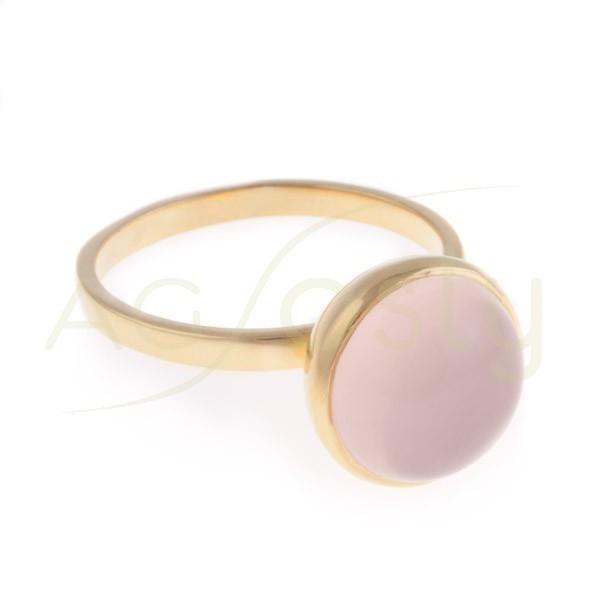 Anillo plata dorada con cuarzo rosa en talla cabujón
