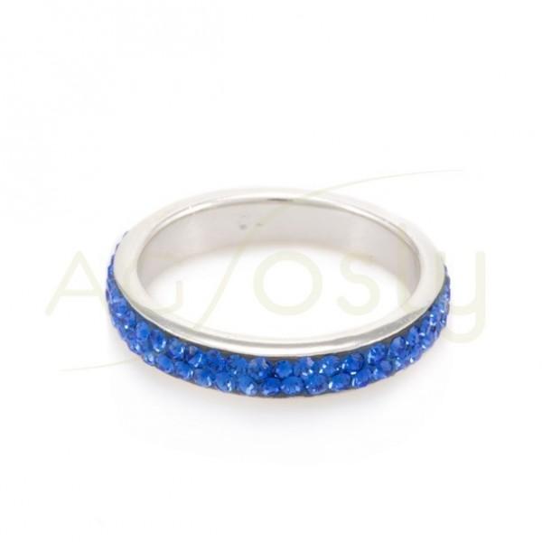 Anillo plata 4mm cristales azul el'ctrico.