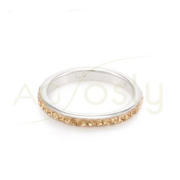 Anillo plata 3mm cristales dorado.