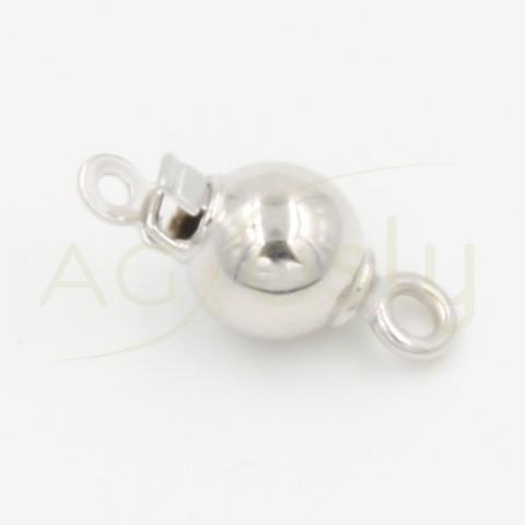 Cierre de bola para collar, en oro blanco, ligero, de 6mm