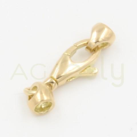 Cierre de mosquetón, en oro amarillo, con terminales para cordón 2.5mm