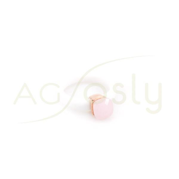 Anillo plata chapado rosa con brazo de caucho blanco y piedra rosa.