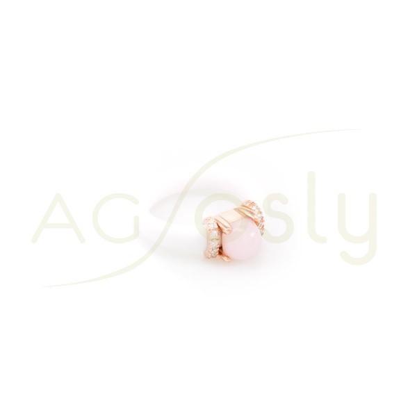Anillo plata chapado rosa con brazo de caucho blanco y piedra rosa con circonitas.