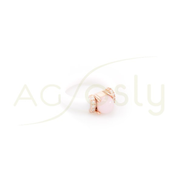 Anillo plata rosa con brazo de caucho blanco y piedra rosa con circonitas