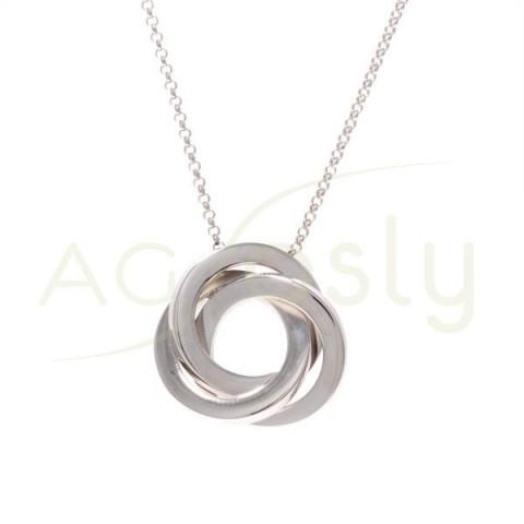 Collar plata rodiada de cadena rolo 3 aros entrelazados.45cm