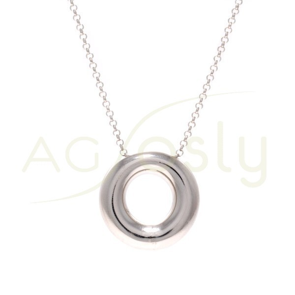 Collar plata rodiada de cadena rolo con donut central grueso.45cm