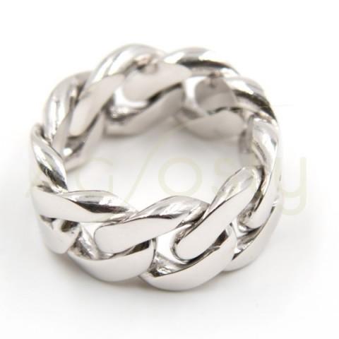 Anillo de plata modelo AG estilo cadena Barbada plana