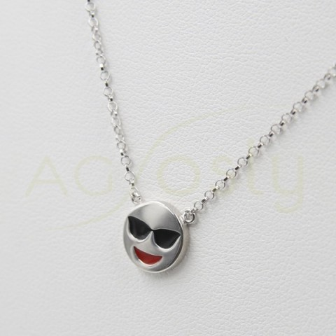 Colgante de plata modelo AG en forma de emoticono espia