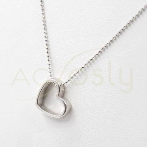 Colgante de plata modelo AG en forma de corazón