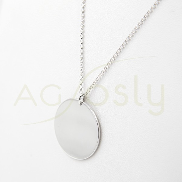 db036df11f88 Collar de plata modelo AG con cadena rolo en forma de placa redonda