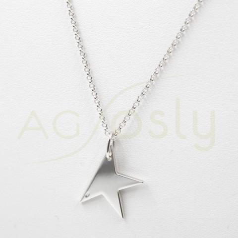 Collar de plata modelo AG en forma de media estrella de plancha pequeña