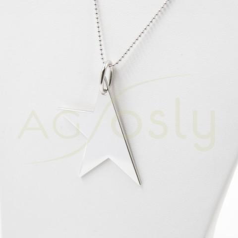 Collar de plata modelo AG en forma de media estrella