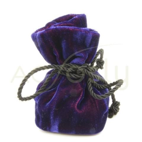 Bolsa para anillo, de terciopelo azul con cordon de color negro.
