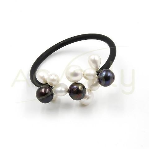 Pulsera de perlas con base de acero+caucho