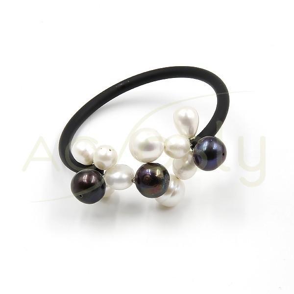 fcc16016e97c Pulsera de perlas con base de acero+caucho
