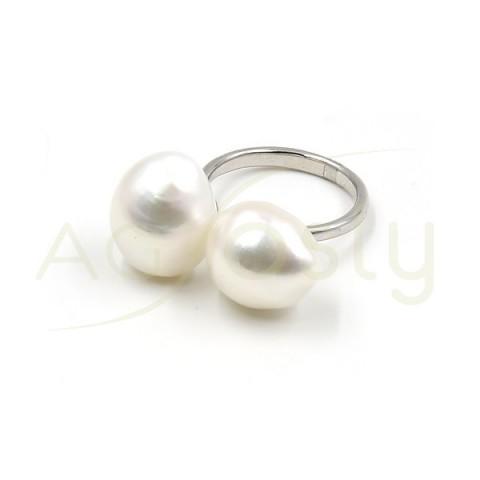 Anillo de plata modelo AG con dos Perlas