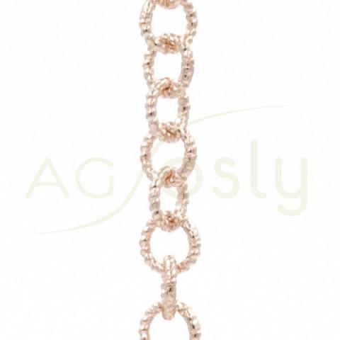 Cadena de oro rosa modelo fantasía con eslabón texturizado en espiral. 50cm.