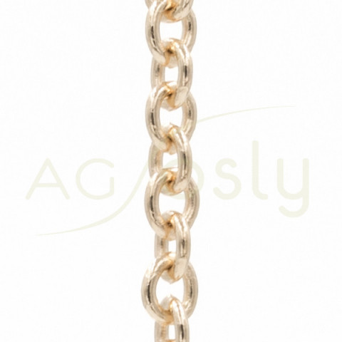 Cadena forzada de oro rosa, 50cm.
