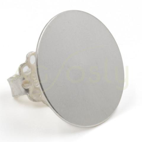 Base para pendiente redonda en plata de 14mm