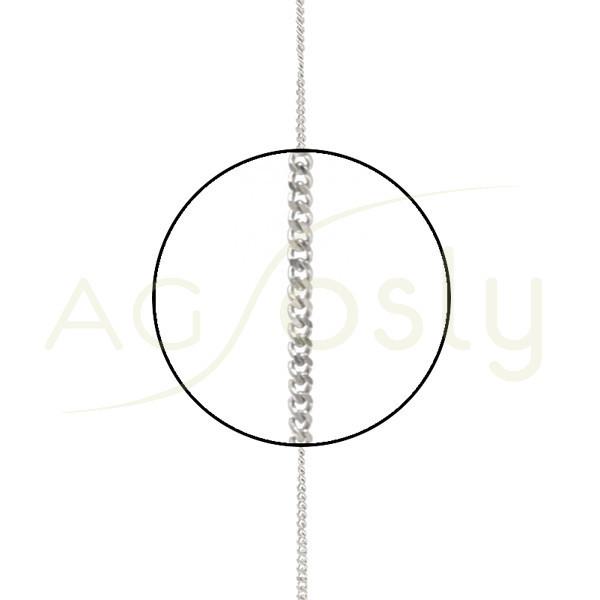 Cadena oro blanco barbada diamantada 020 en 40cm.