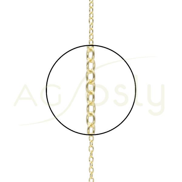 Cadena de oro forzada, eslabón plano, montada en 42cm