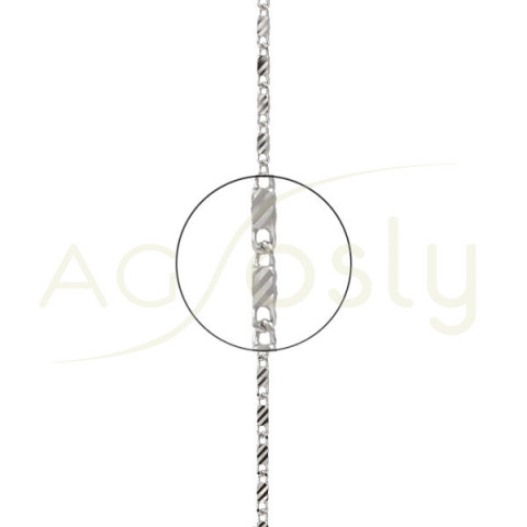 Cadena de oro blanco fantasía montada en 40cm