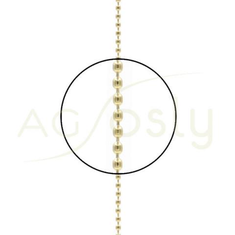 Cadena de oro amarillo de bolas, montada en 40cm