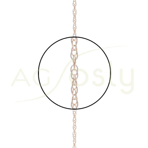 Cadena oro rosa eslabones entrelazados, 42cm.