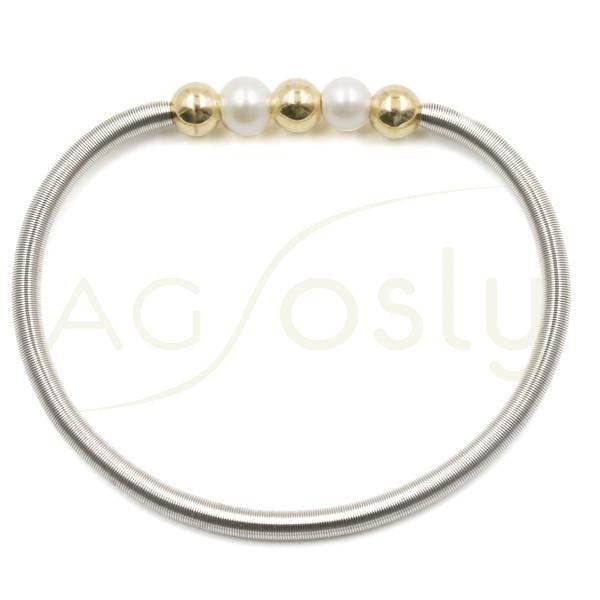 Pulsera muelle de acero, dos perlas y tres bolas de plata doradas