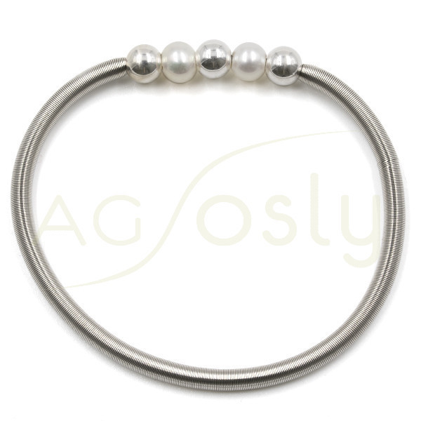 62c85ad48461 Pulsera de muelle en acero con dos perlas y tres bolas de plata
