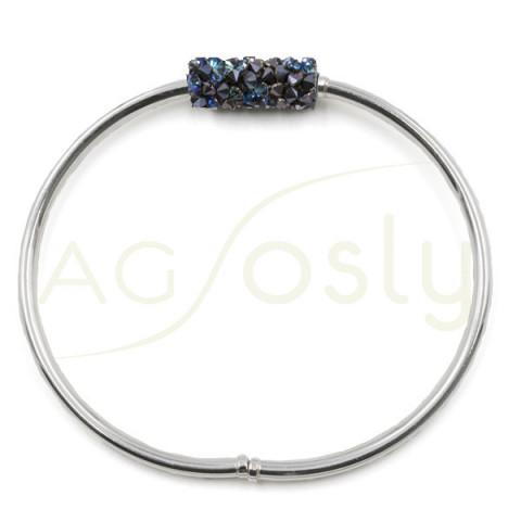 Esclava de plata con tubo de cristales Swarosky azules