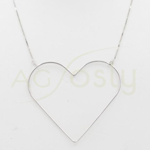 Collar largo de plata con corazón