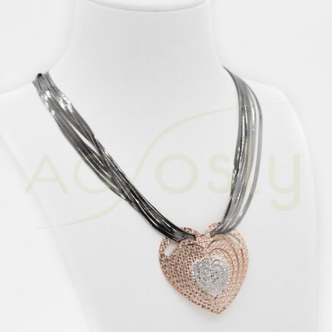 Collar de plata tiras varias y colgante corazón