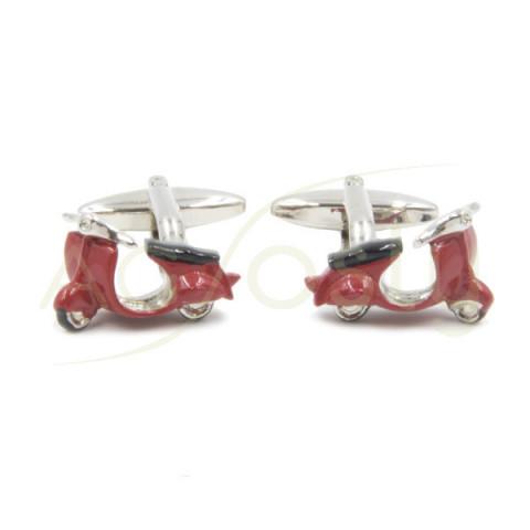 Gemelos en forma de moto Vespa Roja