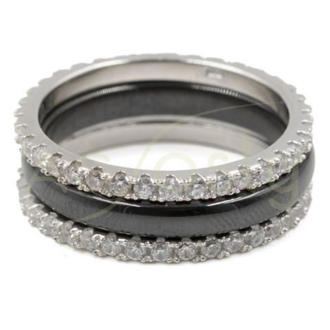 Pack 2 alianzas de plata con circonita + anillo cerámica NEGRA