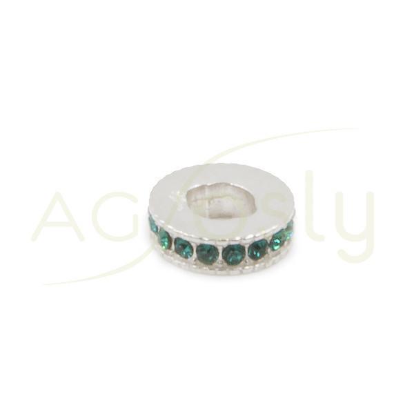Entrepieza de plata con cristales Swarosky verdes