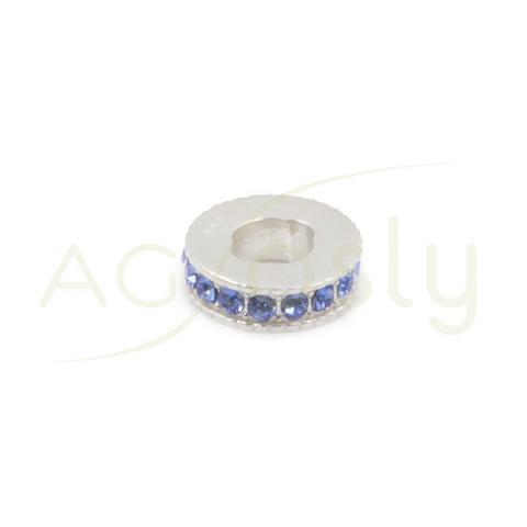Entrepieza de plata con cristales Swarosky azules