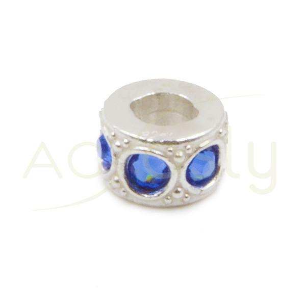 Entrepieza de plata cilindro con Swarosky azules