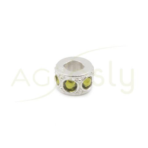 Entrepieza de plata cilindro con Swarosky verde oliva