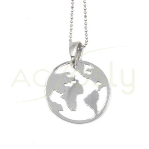Collar colgante redondo mundo en plata
