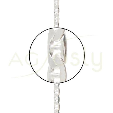 Cadena plata montada, modelo ancla 6mm en 21cm.
