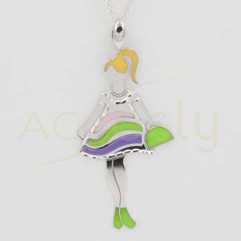 Collar colgante con cadena en plata y esmaltes de colores