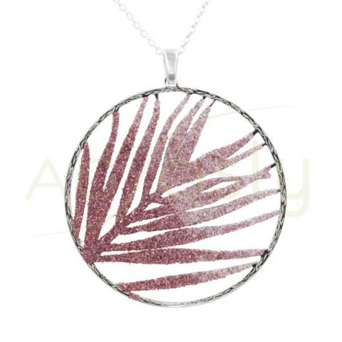 Collar de plata con colgante circular de purpurina rosa
