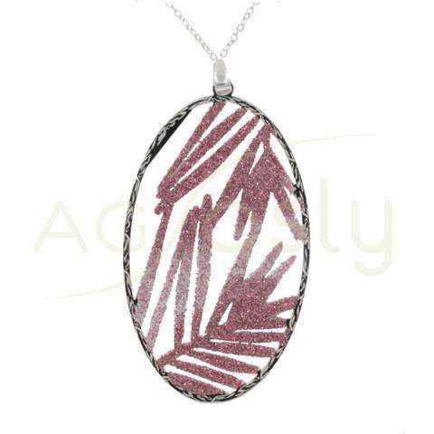 Collar de plata con colgante oval de purpurina rosa